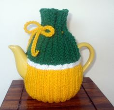 Yellow White and Green Teapot cosy - Yellow, White and Green Teapot Cozy  Handmade  Great Xmas Gif...