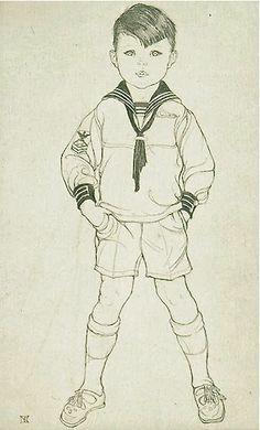 Sailor Boy Art Print Portrait Etching On Antique Handmade Paper