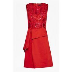 Nisha Beading Sleeveless Dress ($65) ❤ liked on Polyvore featuring dresses, short dresses, red sequin dress, short beaded dress, red sleeveless dress and red dress