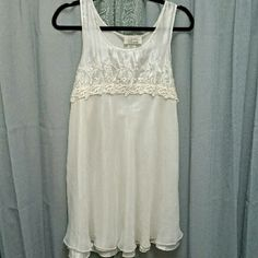 """Vintage Dentelle Short Nightie A lovely embroidered nightgown, with satin bodice and under-layer, and chiffon over-layer on skirt. Could be used as a dress, too! In good condition. Measures: bust 38"""", length from shoulder  33"""". Dentelle Intimates & Sleepwear Chemises & Slips"""