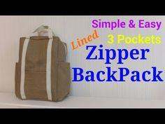 【DIY】3ポケット*2way*バックパック*3 Pockets Lined 2way*Zipper BackPack* - YouTube
