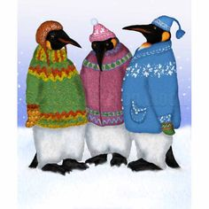 Penguins in Hand Knitted Sweaters print by FullFrogMoon