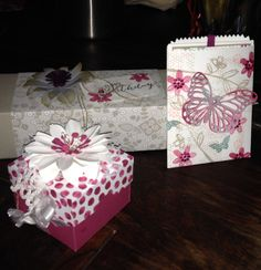 Gift Boxes and bag using Stampin' Up! stamps and papers