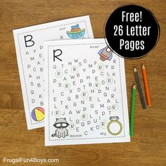 Here's an alphabet activity that preschoolers will love!  Color the pictures, then search for the letters and circle them.  There's a page for each capital letter! These printable alphabet pages were inspired by my preschool girl and her love of word searches.  One day, my 11 year old was working on word searches in a coloring book, and Janie decided to join in and circle all the J's (because she knows her name starts with J).  She stuck with it a long, long time over the course o...