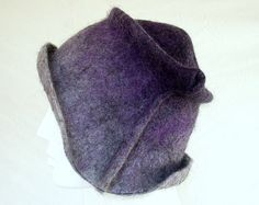 A custom hat that was a twist on the quirky Black Minimalist Cloche that can also be seen on  #FeltHappiness,   #hat #ombre #felted #cloche