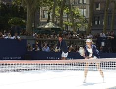 Constance Jablonski at the pop-up tennis match in Bryant Park, NYC