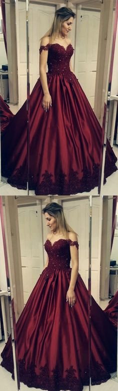 64ef01547e2 Burgundy Lace Appliques Ball Gowns Satin Wedding Dress Off Shoulder by  MeetBeauty