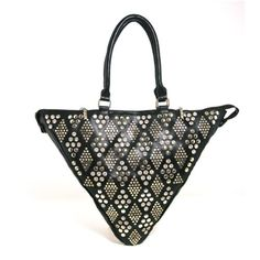 Womens Leather Like Triangle Purse Shoulder Bag with Rhinestone Crystal  Stud Details *** Check this awesome product by going to the link at the image.