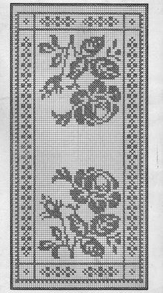 "Filet crochet chart for a rose inspired table runner. ""Filet crochet chart for a rose inspired table runner."", ""szydełko / filet na Stylowi. Filet Crochet Charts, Crochet Cross, Crochet Art, Tapestry Crochet, Crochet Home, Thread Crochet, Crochet Motif, Crochet Designs, Crochet Doilies"