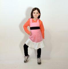 pink powerpuff apron  girls' small/medium/large by jordandene, $41.00