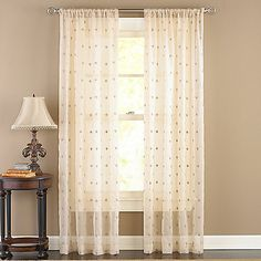Celeste Antique Sheer Rod Pocket Window Curtain Panels