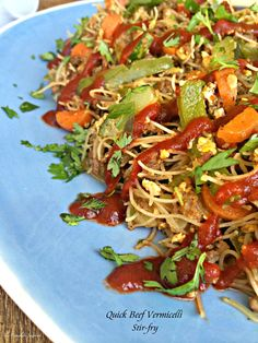 Beef Vermicelli Stir-Fry ~ A quick Asian inspired stir fry with brown rice noodles, ground beef, and vegetables for an easy weeknight dinner
