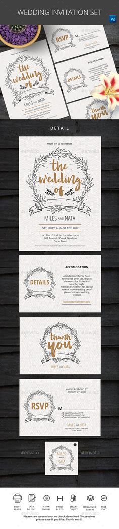 Wedding Invitation — Photoshop PSD #brown #handmade • Available here → https://graphicriver.net/item/wedding-invitation/17387093?ref=pxcr