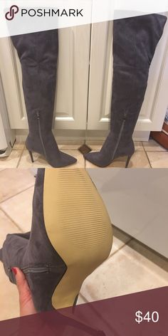 Over the knee boots in gray Over the knee boots suede look ASOS Shoes Over the Knee Boots