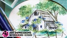 Bonnie Krebs: Art Impressions Old Barn Mini Set Blooming Birdhouse Set Flower Set and Foliage Set watercolor with Marvy markers; Watercolor Barns, Watercolor Video, Watercolor Projects, Watercolour Tutorials, Watercolor Techniques, Watercolour Painting, Watercolors, Water Color Markers, Art Impressions Stamps