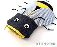 Bumble Bee Bag by MinneBites / Handmade Bumble Honey Bee Pencil Bag - School Bag Supplies - Boys Pencil Case - Boys Birthday Gift @Tam and Casey