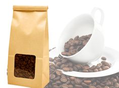 Paper bag packaging for coffee beans!! http://www.standuppouches.com/wholesale-paper-bags.html #paperbags #paperpackaging #kraftbags #gussetbags