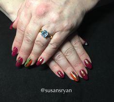 Gel nails - red smoke autumn
