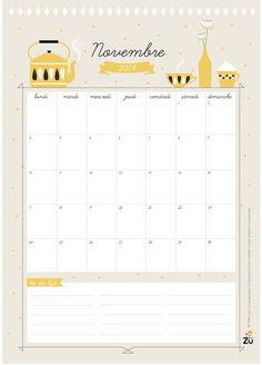 FREE printable november 2014 write-in Calendar ^^| Zü