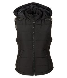 Knit-Back Hooded Full-Zip Vest - Aeropostale