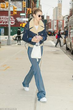 Double down on denim like Gigi in her Fay jacket #DailyMail  Click 'Visit' to buy now