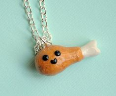 Fried Chicken Leg Charm Necklace by PumpkinPyeBoutique on Etsy, $17.00