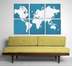 Use large map, cut in sections, put on canvas stretchers. Could also buy matching picture frames.