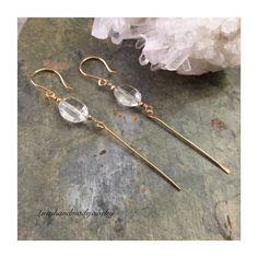 Unique Crystal Quartz dangle earrings. Available in the shop