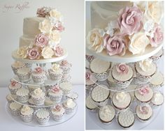 Vintage Roses & Lace Cupcake Tower