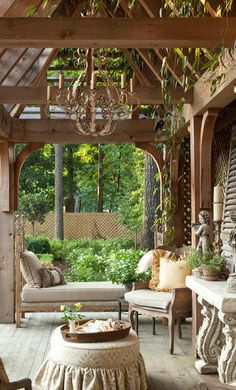 Beautiful Backyard Ideas and Garden Design Blending Classic English and French Styles This is a beautiful outdoor space. I love the furniture and chandelier! Outdoor Rooms, Outdoor Living, Outdoor Decor, Rustic Outdoor, Outdoor Seating, Shabby Chic Outdoor Furniture, Rustic Pergola, Outdoor Patios, Porch Furniture