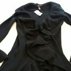 CLEARANCE. NWT black sweater. This sweater has ruffles allthe way down the front.  Looks awesome with leggings size extra small but runs large and is long. Style & Co Sweaters Cardigans