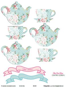 Shabby Chic Tea for Two Crafting Elements - Free Printable Download