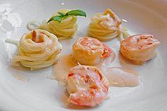 Spaghetti mit Garnelen in Weißwein - Sahnesauce (Rezept mit Bild) | Chefkoch.de