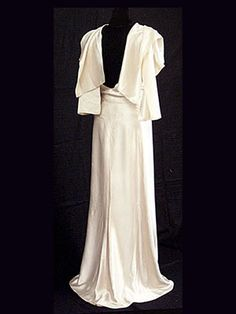 """Augustabernard bias-cut satin evening gown, c.1930. Label: """"Augustabernard"""" with a stamped couture number on the back."""