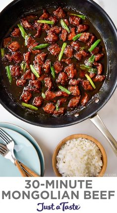 Toss the takeout menus in favor of 30-Minute Mongolian Beef! This easy dinner recipe stars tender beef slices in a sweet, tangy, sticky sauce with plenty extra for spooning over rice or noodles. justataste.com #dinnerrecipes #30minutemeals #recipes #mongolianbeefrecipe #beefrecipes #justatasterecipes