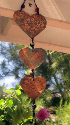Hammered Copper Heart Hanging Arts with Glass bead by jodybrimhall, $48.00