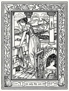 I see only the sun and dust.  Joseph E. Southall, from The story of Blue Beard, by Charles Perrault, London, 1895.