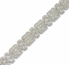 A diamond plaque bracelet, circa 1930 The alternating row of square and oval plaques each pierced and millegrain-set with old brilliant and single-cut diamonds, the galleries with engraved scroll decoration, to a concealed clasp, diamonds approximately 11.55 carats total,.