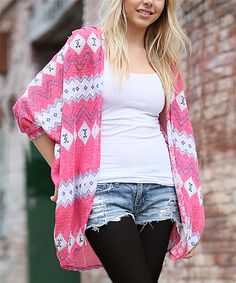 Another great find on #zulily! 42POPS Coral & Ivory Geometric Dolman Cardigan by 42POPS #zulilyfinds