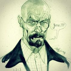 caricature + portrait + ink + W&B ++ Walter White by J. Scott Campbell