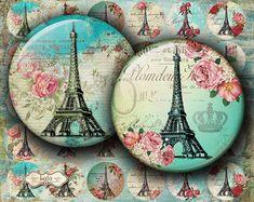 Paris Vintage - 1 Inch Circle - Round Images - Bottle Cap Images - Button - Magnet - Glass Pendant - Digital Collage Sheet