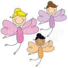 Fairy Stick Figures Cute Digital Clipart, Girl Fairy Stick Figure Clip art, Stick Figure Graphics, Girly Stick figure Illustration, #101