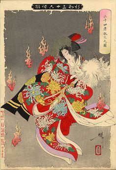 Yoshitoshi print of Yaegaki-hime with Takeda Shingen's Helmet and Inari's protective foxfires.