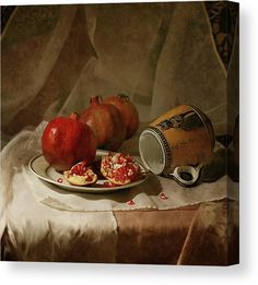 Vintage Still Life Canvas with pomegranates in an antique brown and red color scheme. Digital Painting. #stilllife #canvasprints #fineart #pomegranates #affordablewallart #canvasprints Red Color Schemes, The Husk, Digital Art Photography, Affordable Wall Art, Still Life Photos, Stretched Canvas Prints, Tag Art, How To Take Photos, Art For Sale