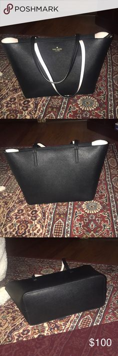 Kate Spade Black Tote This tote is like new. I used it twice, but it's too small for my work needs. kate spade Bags Totes