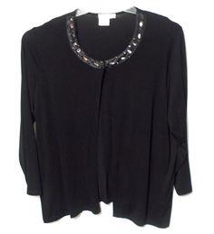 Ulla Popken Soft knit jacket 20 22 Relaxed Fit solids embellished rayon long slv #UllaPopken #BasicJacket
