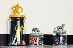 Glass tins, plastic animals and some paint!