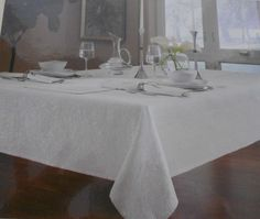 Dansk Lisbeth Tablecloth Silver Metallic & White 60 x 84 New  #Dansk