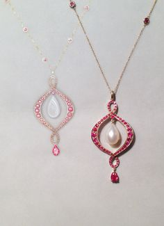 Ruby and pearl pendant commissioned for a Ruby Wedding Anniversary.