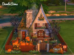 This small cottage farm was inspired by autumn leaves and pumpkins colors. Found in TSR Category 'Sims 4 Residential Lots'
